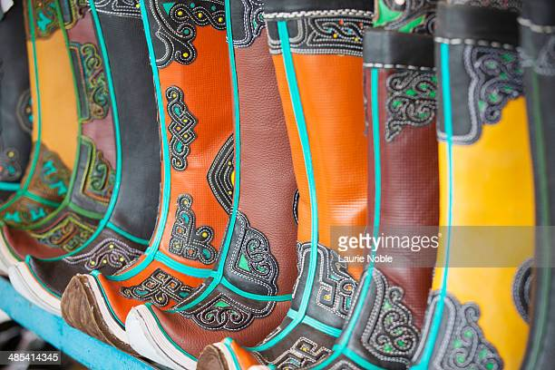 mongolian boots on sale at the black market - black market stock pictures, royalty-free photos & images