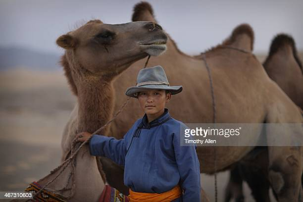 mongolian boy and bactrian camels in gobi desert - モンゴル ストックフォトと画像