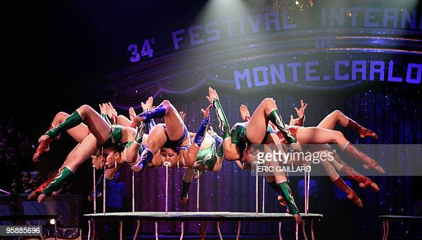 Mongolian contortionists Blue Sky Girls perform during the awards ceremony of the 34th International Circus Festival of Monte Carlo in Monaco January...