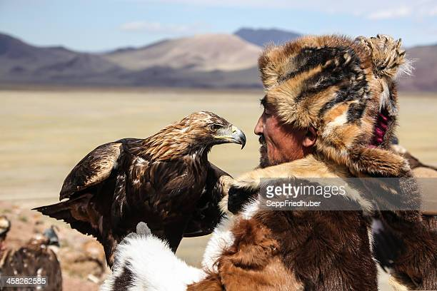 mongolian eagle hunter - independent mongolia stock pictures, royalty-free photos & images
