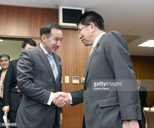 Mongolian Foreign Minister Damdin Tsogtbaatar and Katsunobu Kato Japan's minister in charge of the issue of Japanese nationals abducted by North...