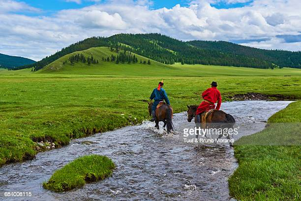 Mongolian horserider in the steppe