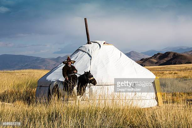 mongolian jurt with horseman in the altai area - yurt stock pictures, royalty-free photos & images