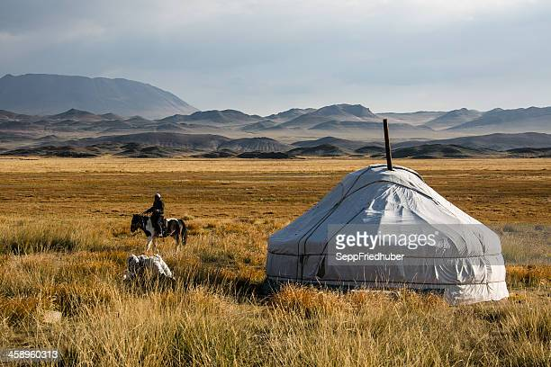 Mongolian jurt with horseman in the Altai area