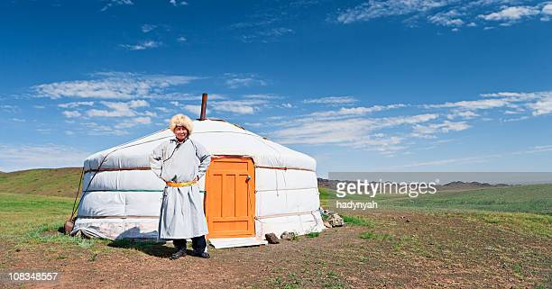 mongolian man in national clothing - yurt stock pictures, royalty-free photos & images