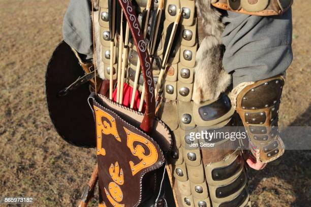 mongolian man in traditional hunters's costume - mongolian women stock photos and pictures