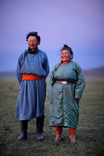 Mongolian Nomadic couple at dusk