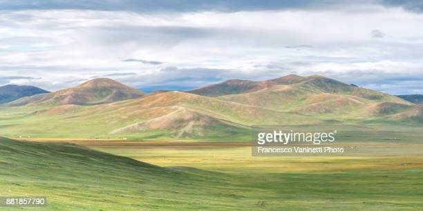 Mongolian nomadic gers in the steppe. North Hangay province, Mongolia.