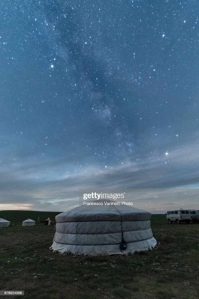 Mongolian nomadic traditional gers under the Milky Way. Middle Gobi province, Mongolia. : Stock Photo