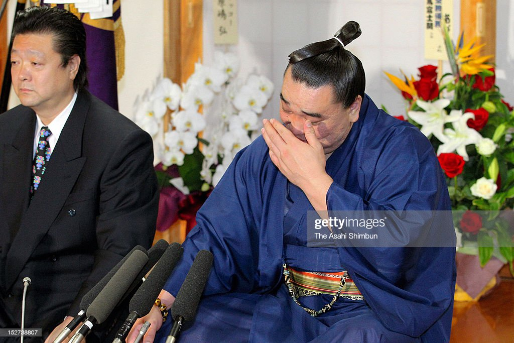 Mongolian Ozeki Harumafuji, whose real name is Davaanyamyn Byambadorj, sheds tears with joy during a press conference a day after winning the Grand Sumo Autumn Tournament on September 24, 2012 in Tokyo, Japan.
