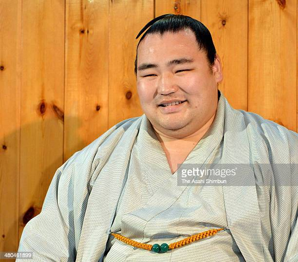 Mongolian ozeki Kakuryu whose real name is Mangaljalavyn Anand smiles as he is recommended to promote to Yokozuna sumo's highest rank by the Japan...