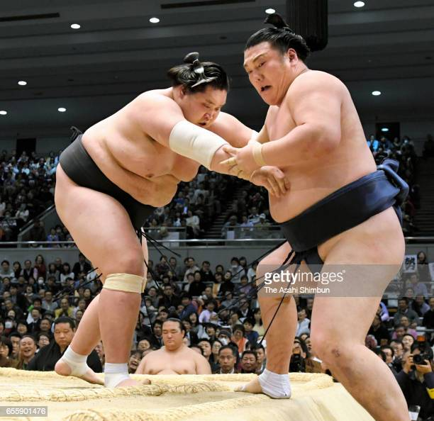 Mongolian ozeki Terunofuji pushes Ikioi out of the ring to win during day nine of the Grand Sumo Spring Tournament at Edion Arena Osaka on March 20...