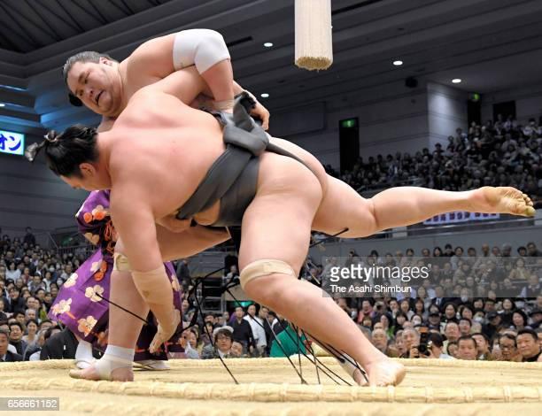 Mongolian ozeki Terunofuji throws Mongolian wrestler Tamawashi to win during day eleven of the Grand Sumo Spring Tournament at Edion Arena Osaka on...