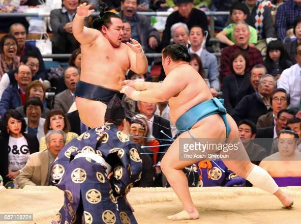 Mongolian sekiwake Tamawashi pushes Mongolian yokozuna Kakuryu out of the ring to win during day twelve of the Grand Sumo Spring Tournament at Edion...