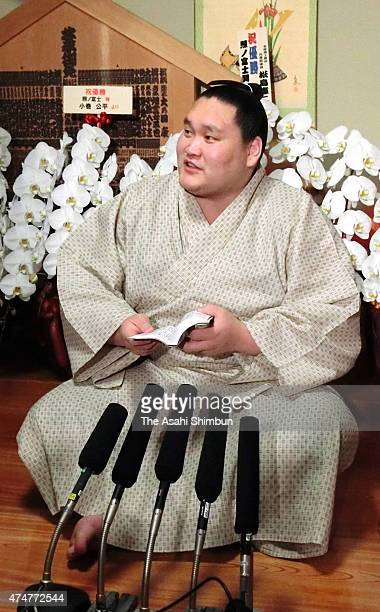 Mongolian sekiwake Terunofuji prepares for the ceremony to accept the messege of his promotion to Ozeki tomorrow at Isegahama Stable on May 26 2015...