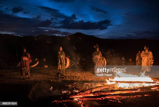 Mongolian Shamans or Buu take part in a fire ritual meant to summon spirits to mark the period of the Summer Solstice in the grasslands on June 22...