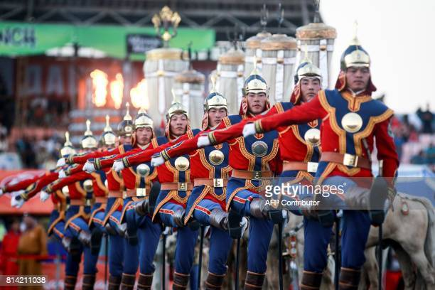 TOPSHOT Mongolian soldiers attend the traditional Nadaam festival in Ulan Bator on July 12 2017 The Naadam games have been celebrated for centuries...