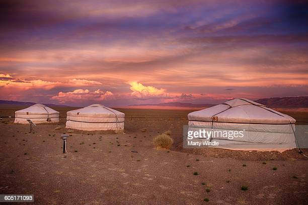 Mongolian Sunset over Yurts, Gobi desert