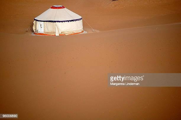 Mongolian tent in the desert