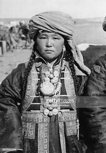 A Mongolian woman circa 1941 in Inner Mongolia China