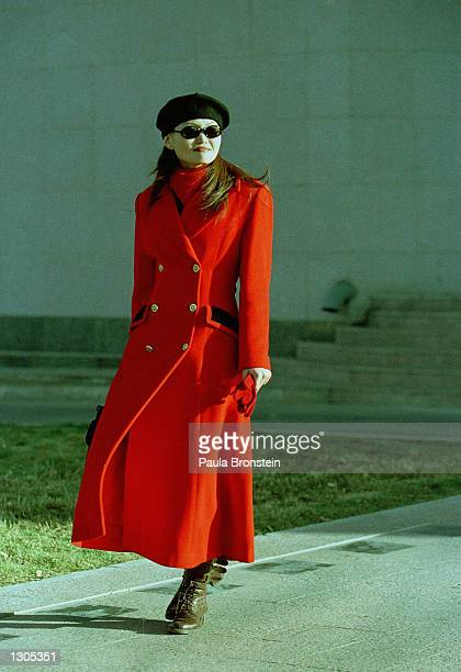 Mongolian women models fashionable clothes October 20 20000 in Ulaan Bataar Mongolia Women in the city put a strong emphasis on fashion and dressing...