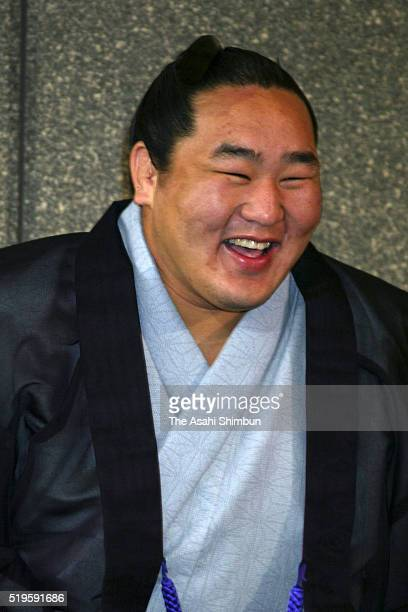 Mongolian wrestler Asasyoryu speaks during a press conference on July 22 2002 in Kanie Aichi Japan