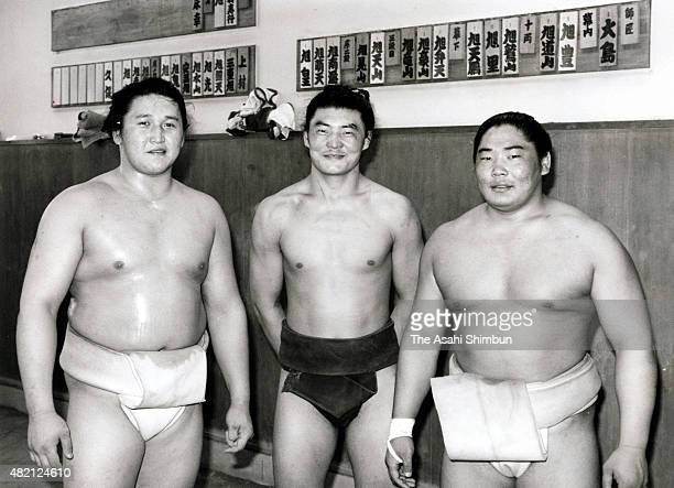 Mongolian wrestlers Kyokutenho Kyokutenzan and Kyokushuzan pose for photographs at Oshima Stable on May 4 1996 in Tokyo Japan