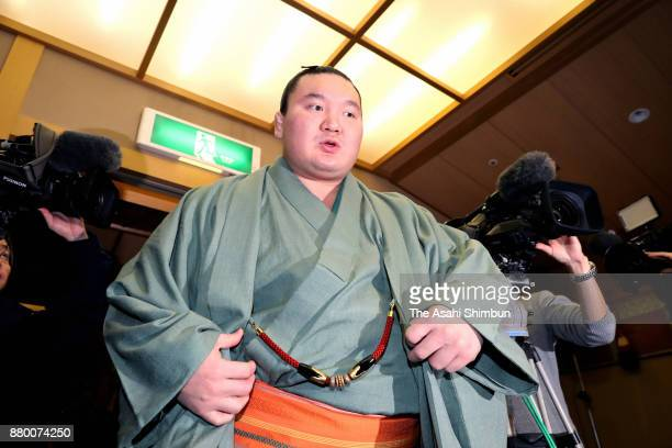 Mongolian yokozuna Hakuho attends a press conference a day after winning the Grand Sumo Kyushu Tournament on November 27 2017 in Fukuoka Japan