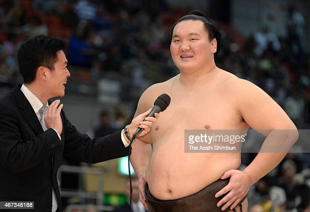 Mongolian yokozuna Hakuho is interviewed after winning the tournament during day fifteen of the Grand Sumo Spring Tournament at Bodymaker Colosseum...