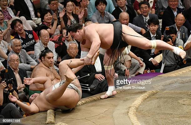 Mongolian yokozuna Harumafuji cathces a leg of Mongolian wrestler Takanoiwa after beating him during day six of the Grand Sumo Autumn Tournament at...