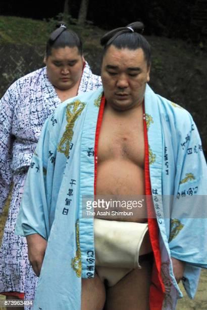 Mongolian Yokozuna Harumafuji is seen after a training session at the temporary stable quarters to meet Takanoiwa and his stablemaster Takanohana on...