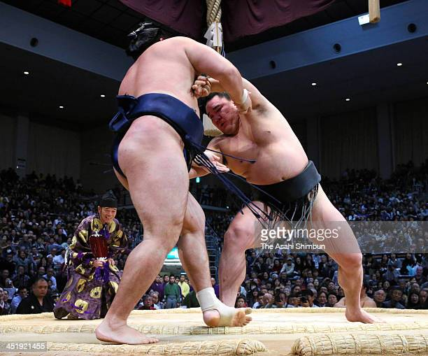 Mongolian yokozuna Harumafuji whose real name is Altangadasyn Khuchitbaatar pushes his fellow ozeki Kakuryu whose real name is Mangaljalavyn Anand to...