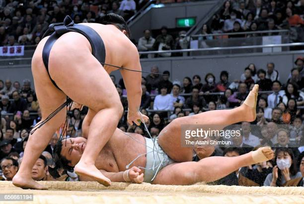 Mongolian yokozuna Kakuryu throws sekiwake Takayasu to win during day eleven of the Grand Sumo Spring Tournament at Edion Arena Osaka on March 22...