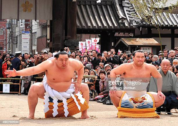 Mongolian yokozuna, sumo grand champion Asashoryu performs the 'Dohyo-Iri' ring purification ritual ahead of the Osaka tournament at Osaka Temangu...
