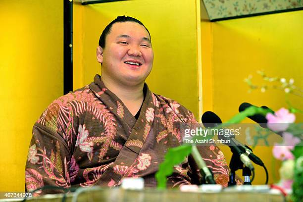 Mongolian yokozuna sumo grand champion Hakuho speaks during a press conference a day after winning the Grand Sumo Spring Tournament on March 23 2015...