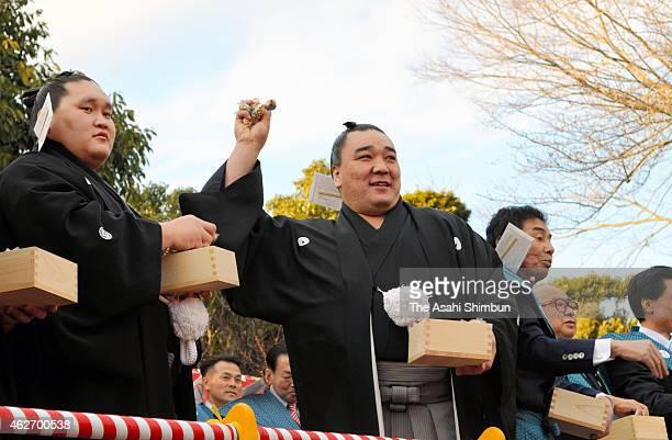 Mongolian yokozuna sumo grand champion Harumafuji throws bags of beans toward wellwishers during a beanscattering ceremony at Izumo Taisha Shrine...