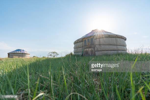 mongolian yurt in inner mongolia grassland - 内モンゴル自治区 ストックフォトと画像
