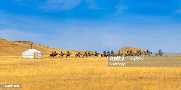 mongolian yurt on a field - gobi desert stock pictures, royalty-free photos & images