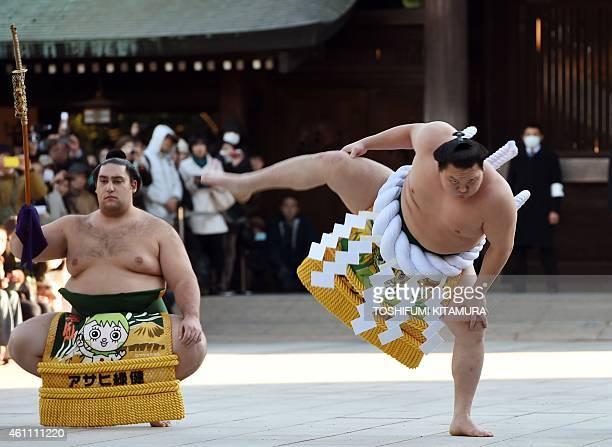 Mongolianborn sumo grand champion or 'yokozuna' Hakuho performs a ringentering ceremony beside Tsuyuharai Kaisei at Meiji Shrine in Tokyo on January...