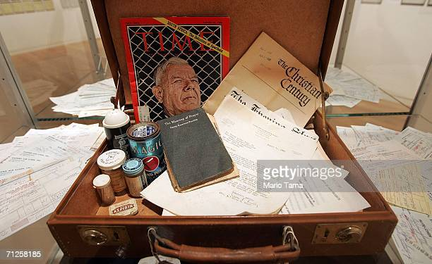 A mongrammed attache case from the collection of Dr Martin Luther King Jr is displayed at Sotheby's which will offer the archive at auction June 21...