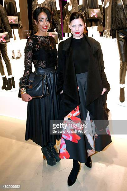Monia Kashmire and actress Delphine Chaneac attend the Handbag Jeff Koons Presentation during the 'Fashion Loves Art' Cocktail Event hosted by HM on...