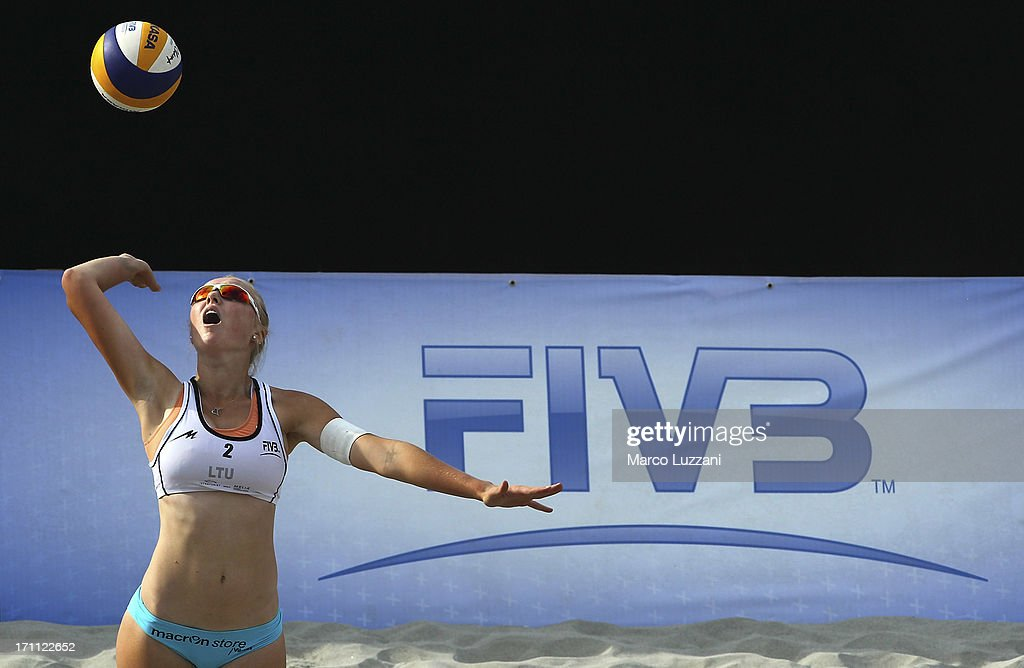 Moniaca Povilaityte of Lituania serves the ball during FIVB Under 21 World Championships on June 22, 2013 in Umag, Croatia.