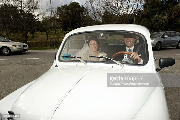 Monica Abascal arrives at her wedding with Jose Maria Aznar at El campillo plot of land on December 17 2011 in El Escorial Spain