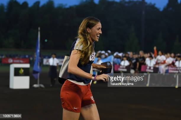 Monica Abbott of United States smiles during opening ceremony of the 2018 Women's Softball World Championship at NASPA Stadium on August 2 2018 in...