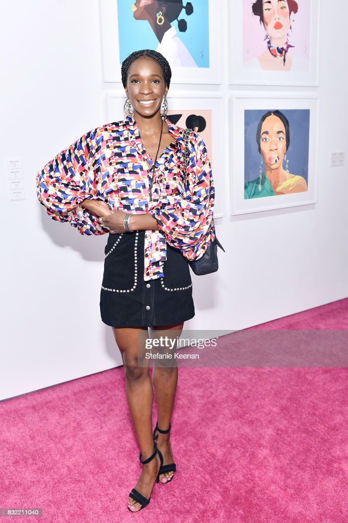 Monica Ahanonu at 'Pinkie Swear' Makeup Collective Celebrates Launch With Special Exhibition 'Drawn In: Beauty Illustration in the Digital World' Curated by Sarah Brown at Wilding Cran Gallery on August 15, 2017 in Los Angeles, California.
