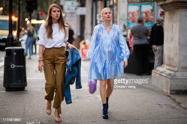 Monica Ainley and Pandora Sykes seen outside A.W.A.K.E. During London Fashion Week September 2019 on September 14, 2019 in London, England.