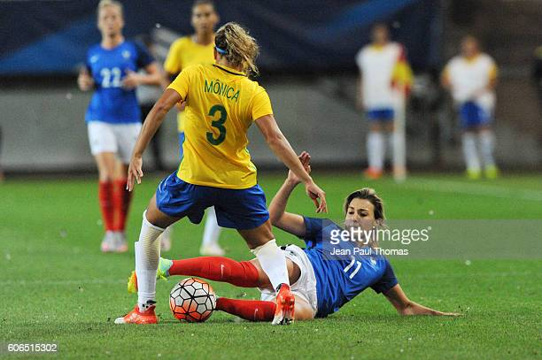 Monica ALVES of Brazil and Elise BUSSAGLIA of France during the International friendly match between France women and Brazil women on September 16...