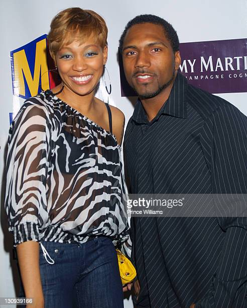 """Monica and Atlanta falcons Allen Rossum during Monica Joins Shaquille O'Neal as Co-Host of """"The Ultimate Mixer"""" - An Intimate Evening with Shaq and..."""