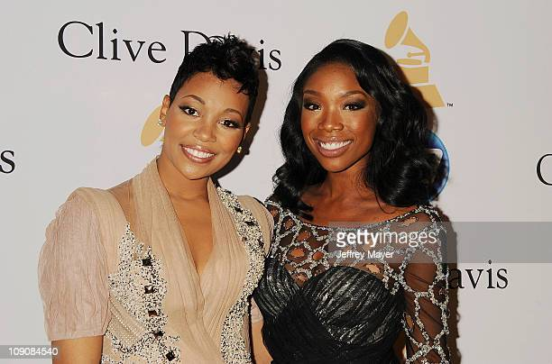Monica and Brandy Norwood arrive at the Clive Davis And The Recording Academy's 2011 PreGRAMMY Gala at The Beverly Hilton hotel on February 12 2011...