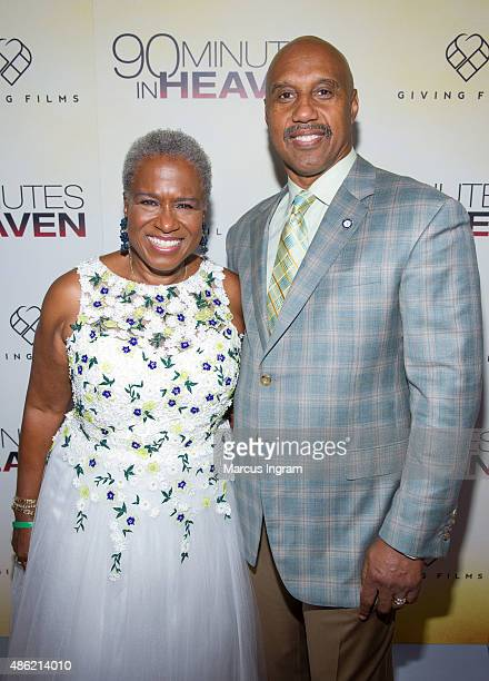 Monica and John Pearson attend '90 Minutes In Heaven' Atlanta premiere at Fox Theater on September 1 2015 in Atlanta Georgia
